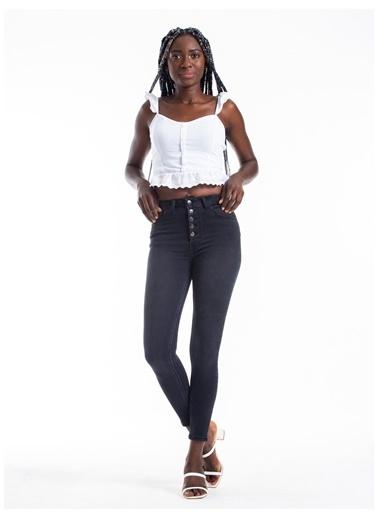 Tiffany&Tomato Önü Düğme Detaylı Skinny Jean Pantolon - Gri Gri